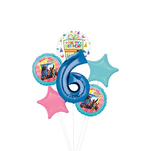 Mayflower Products Wonder Park Party Supplies 6th Birthday Balloon Bouquet Decorations - Blue Number 6