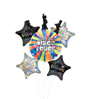 Disco Dancer Party Supplies Let's Boogie Balloon Bouquet Decorations with Holographic Stars