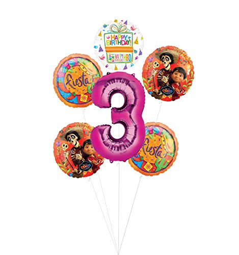 Coco Party Supplies 3rd Birthday Fiesta Balloon Bouquet Decorations - Pink Number 3