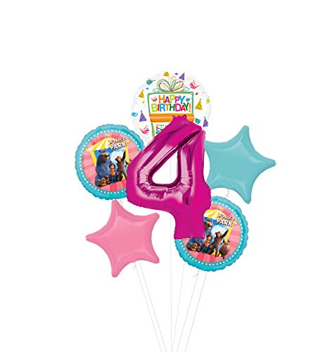 Mayflower Products Wonder Park Party Supplies 4th Birthday Balloon Bouquet Decorations - Pink Number 4