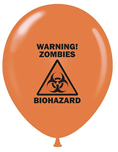 "12 Zombie Party 11"" Orange Biohazard Warning Zombies Print Latex Balloons"