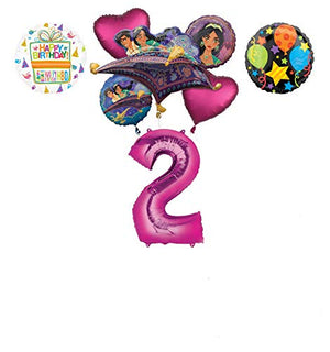 Mayflower Products Aladdin 2nd Birthday Party Supplies Princess Jasmine Balloon Bouquet Decorations - Pink Number 2