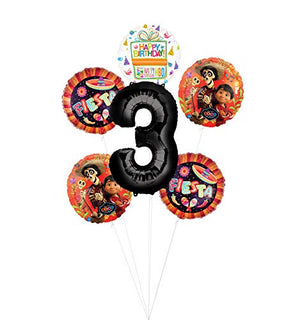 Coco Party Supplies 3rd Birthday Fiesta Balloon Bouquet Decorations -Black Number 3