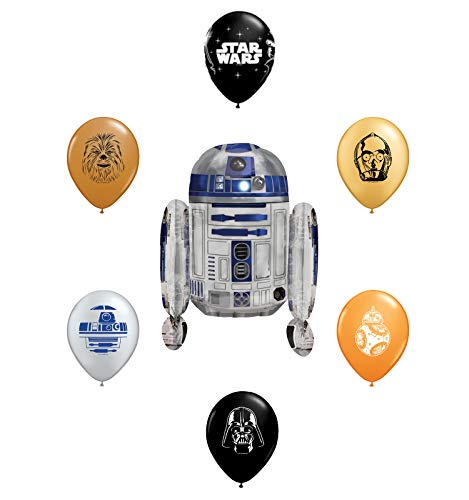 "26"" R2-D2 Foil Balloon and 6pc Star Wars 11"" Character Print Latex Balloons Chewbacca, Darth Vader, C3PO, R2D2, BB8, Yoda"