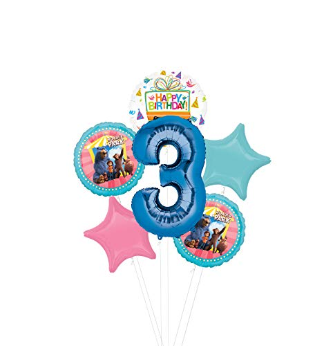 Mayflower Products Wonder Park Party Supplies 3rd Birthday Balloon Bouquet Decorations - Blue Number 3