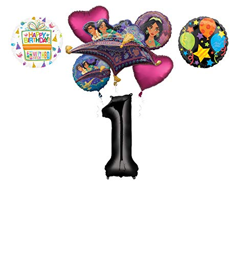 Mayflower Products Aladdin 1st Birthday Party Supplies Princess Jasmine Balloon Bouquet Decorations - Black Number 1