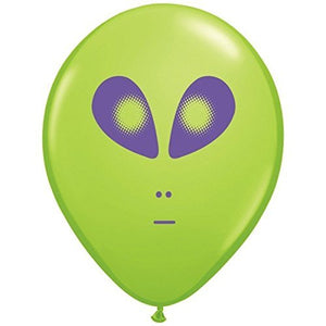 Space Alien Print Lime Green Latex Balloons 25 Count
