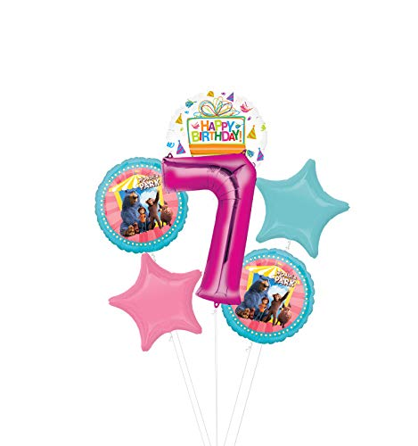 Mayflower Products Wonder Park Party Supplies 7th Birthday Balloon Bouquet Decorations - Pink Number 7