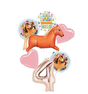 Mayflower Products Spirit Riding Free Party Supplies 4th Birthday Tan Horse Balloon Bouquet Decorations