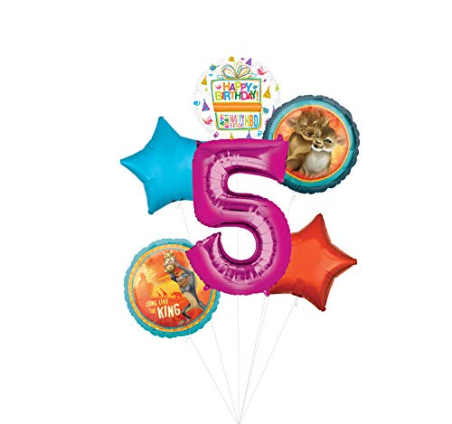 Lion King Party Supplies 5th Birthday Balloon Bouquet Decorations - Pink Number 5