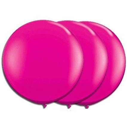 36 Inch Giant Round Hot Pink Latex Balloons by TUFTEX (Premium Helium Quality) Pkg/3
