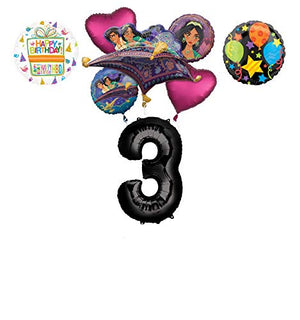 Mayflower Products Aladdin 3rd Birthday Party Supplies Princess Jasmine Balloon Bouquet Decorations - Black Number 3