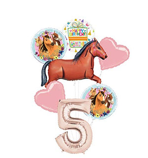 Mayflower Products Spirit Riding Free Party Supplies 5th Birthday Brown Horse Balloon Bouquet Decorations