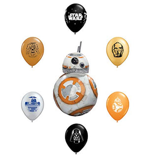"33"" BB8 Foil Balloon and 6pc Star Wars 11"" Character Print Latex Balloons Chewbacca, Darth Vader, C3PO, R2D2, BB8, Yoda"