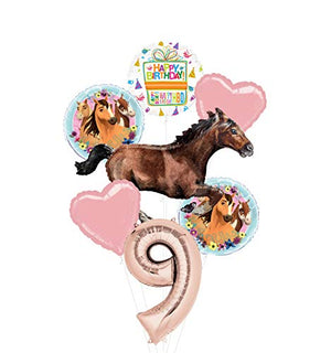 Mayflower Products Spirit Riding Free Party Supplies 9th Birthday Galloping Horse Balloon Bouquet Decorations
