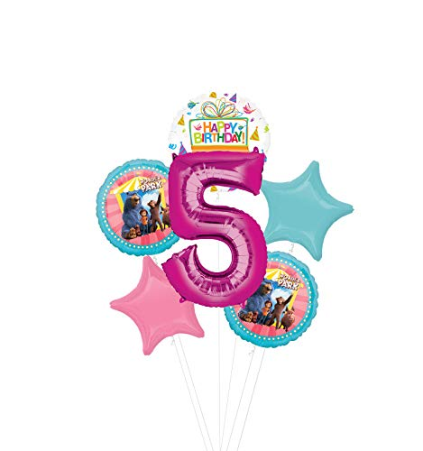 Mayflower Products Wonder Park Party Supplies 5th Birthday Balloon Bouquet Decorations - Pink Number 5
