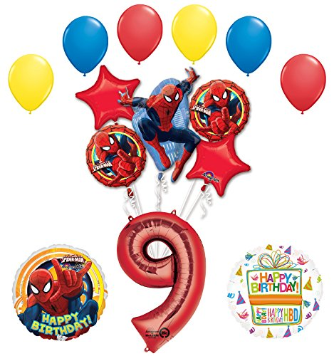 The Ultimate Spider-Man 9th Birthday Party Supplies and Balloon Decorations