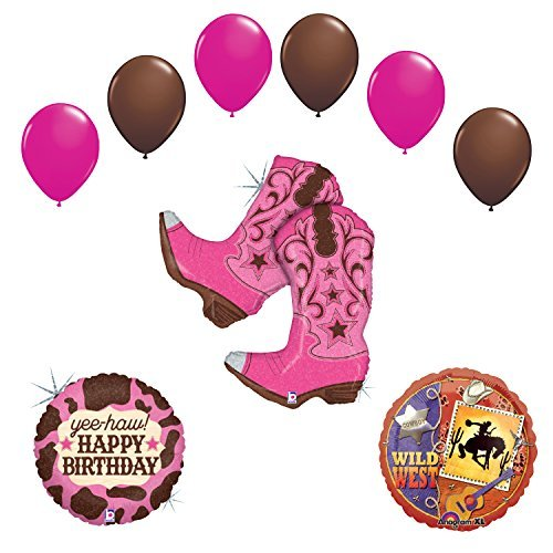 Wild Wild West Cowgirl Boots Birthday Party Supplies and Balloons Decorations
