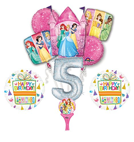New! 9pc Disney Princess 5th BIRTHDAY PARTY Balloons Decorations Supplies