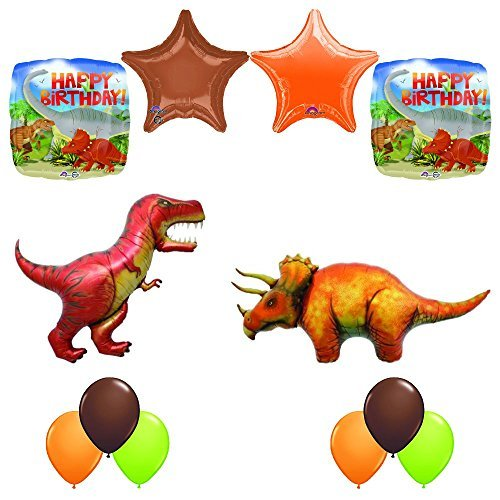 Prehistoric Giant T-REX and Triceratops Birthday Dinosaur Balloon Decoration 12 pc Kit
