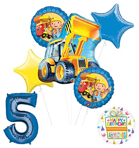 Mayflower Products Bob The Builder Construction Party Supplies 5th Birthday Balloon Bouquet Decorations