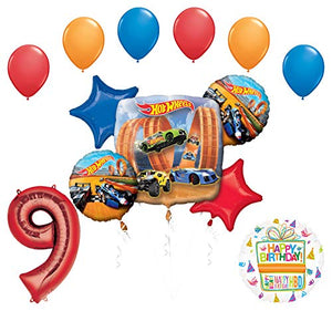 Mayflower Products Hot Wheels Party Supplies 9th Birthday Balloon Bouquet Decorations