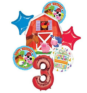 Farm Animal 3rd Birthday Party Supplies and Barn Balloon Bouquet Decorations