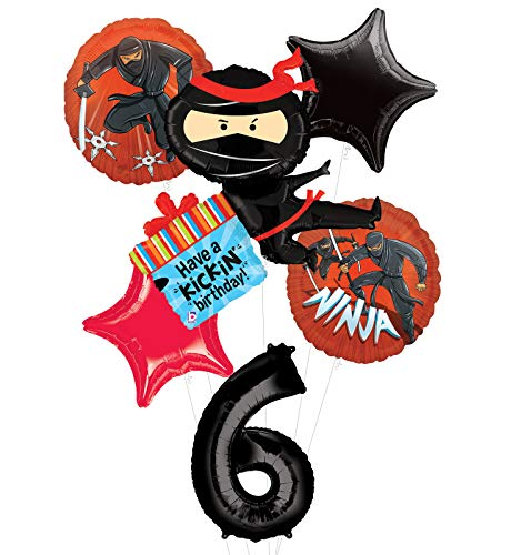 Mayflower Products Ninja Birthday Party Supplies Have A Happy Kickin 6th Birthday Balloon Bouquet Decorations