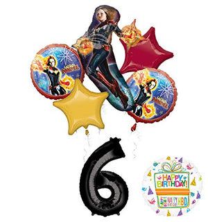 Mayflower Products Captain Marvel Party Supplies 6th Birthday Balloon Bouquet Decorations