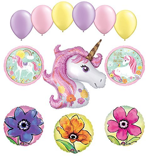 NEW Pink Floral Magical Unicorn Party Supplies and Balloon Bouquet Decorations