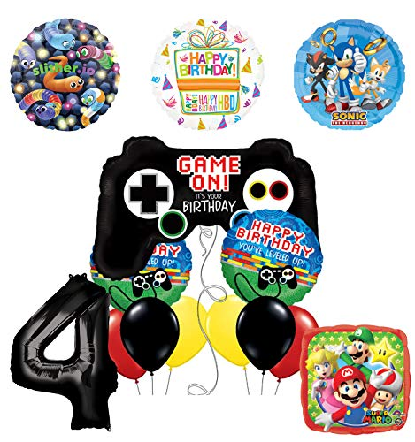 Mayflower Products Video Gamers 4th Birthday Party Supplies Balloon Decorations