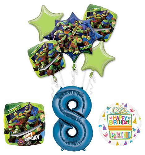 Teenage Mutant Ninja Turtles 8th Birthday Party Supplies and TMNT Balloon Bouquet Decorations