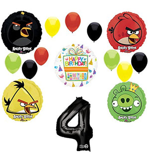 Angry Birds Party Supplies 4th Birthday Balloon Bouquet Decorations