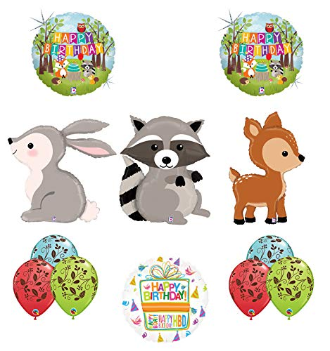 Mayflower Products Woodland Creatures Birthday Party Supplies Balloon Bouquet Decorations Raccoon Deer and Rabbit