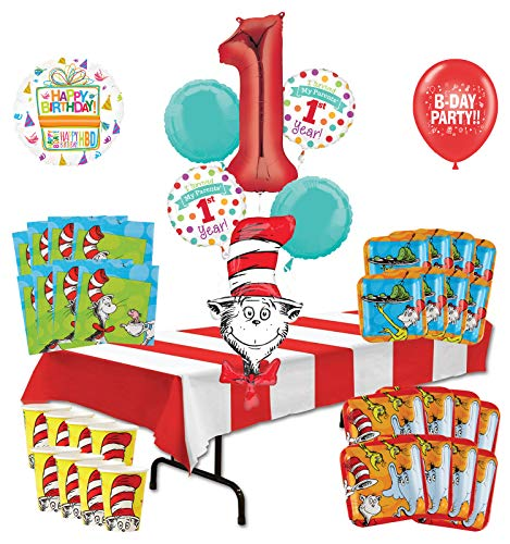 Mayflower Products Dr Seuss I Survived My Parents 1st Year Birthday Party Supplies 16 Guest Decoration Kit and Balloon Bouquet