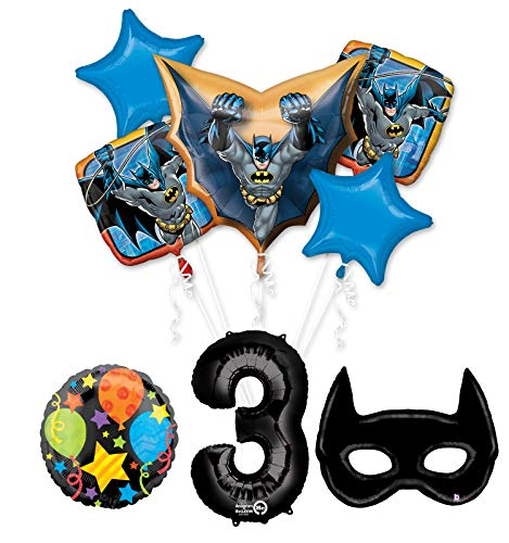 Mayflower Products Batman 3rd Birthday Party Supplies and Bat Mask Balloon Bouquet Decoration