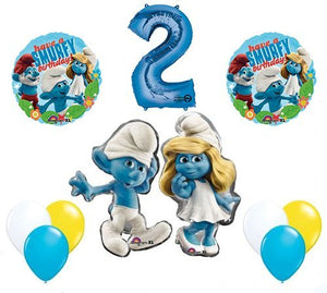The Smurfs Birthday Party Supplies Smurf and Smurfette 2nd Smurfy Birthday Balloon Decorations