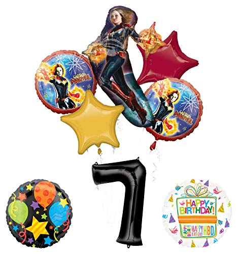 Mayflower Products Captain Marvel 7th Birthday Party Supplies Jubilee Balloon Bouquet Decorations