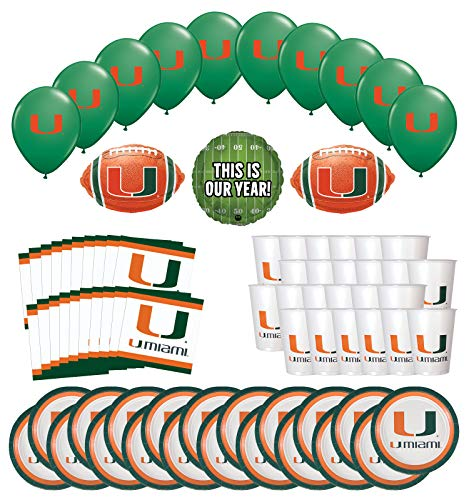 Mayflower Products University of Miami Hurricanes Football Tailgating Party Supplies for 20 Guest and Balloon Bouquet Decorations
