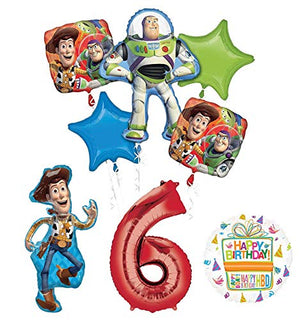 Mayflower Products Toy Story Party Supplies Woody, Buzz Lightyear and Friends 6th Birthday Balloon Bouquet Decorations
