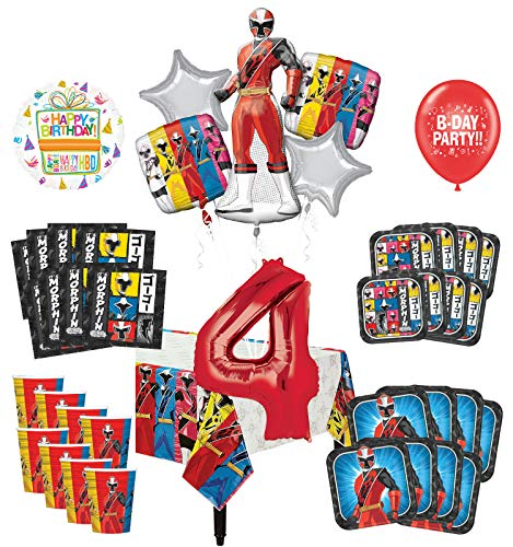 Mayflower Products Power Rangers 4th Birthday Party Supplies 8 Guest Decoration Kit and Balloon Bouquet