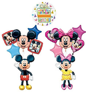 The Ultimate Mickey and Minnie Mouse Airwalker Birthday Party Supplies and 11pc Balloon Bouquet Decorations