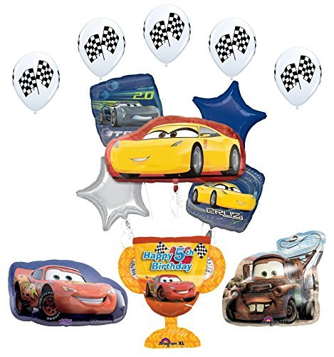 Disney Car Trophy 5th Birthday Party Supplies and Balloon Decorations