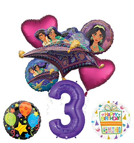 Mayflower Products Aladdin 3rd Birthday Party Supplies Princess Jasmine Balloon Bouquet Decorations - Purple Number 3
