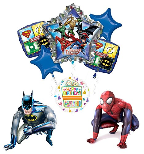 Justice League Party Supplies Batman and Spider-Man Airwalker Balloon Bouquet Decorations