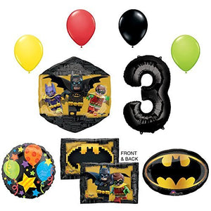 The Lego Batman Movie 3rd Birthday Party Supplies and Balloon Decorations