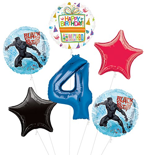 Black Panther 4th Birthday Party Supplies Balloon Bouquet Decorations