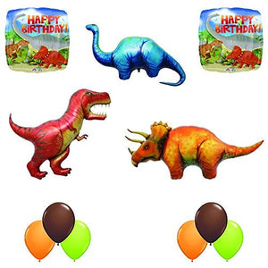 Prehistoric Giant T-REX, Triceratops and Apatosaurus Birthday Dinosaur Balloon Decoration 11 pc Kit