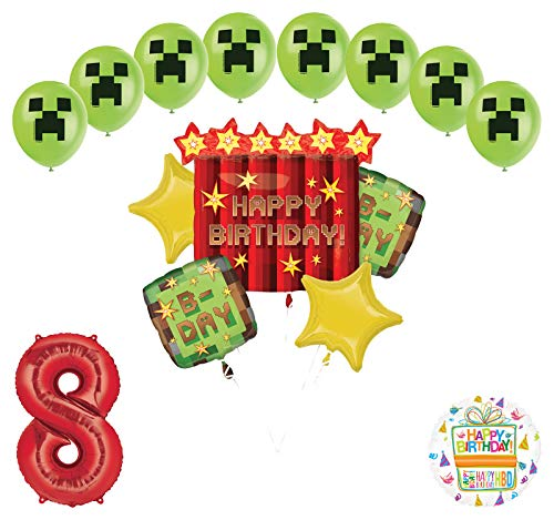 Miner Pixelated TNT Video Game 8th Birthday Balloon Bouquet Decorations