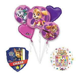 PAW PATROL SKYE & EVEREST Party Balloons Decoration Supplies 27 Inch Chase Marshall Badge Foil